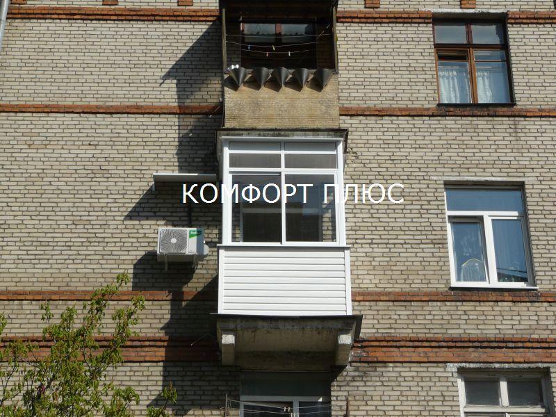 Остекление и отделка балкона 2 метра в сталинской пятиэтажке