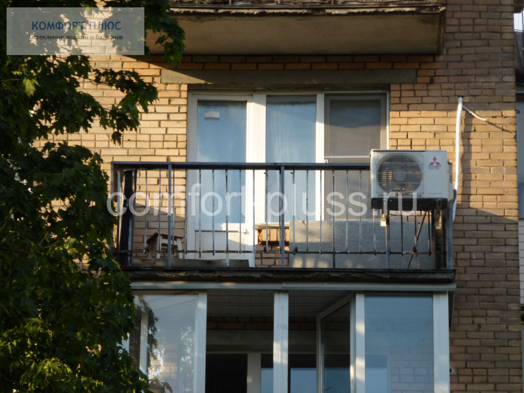 Перенос внешнего блока кондиционера на ограждение балкона