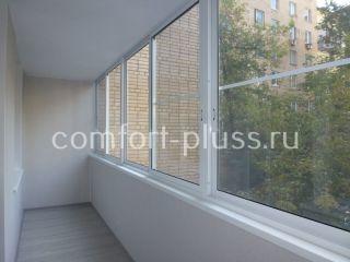 Лоджия 6 метров, кирпичный дом, раздвижное холодное остекление Проведал, ламинированные панели ВЕК.