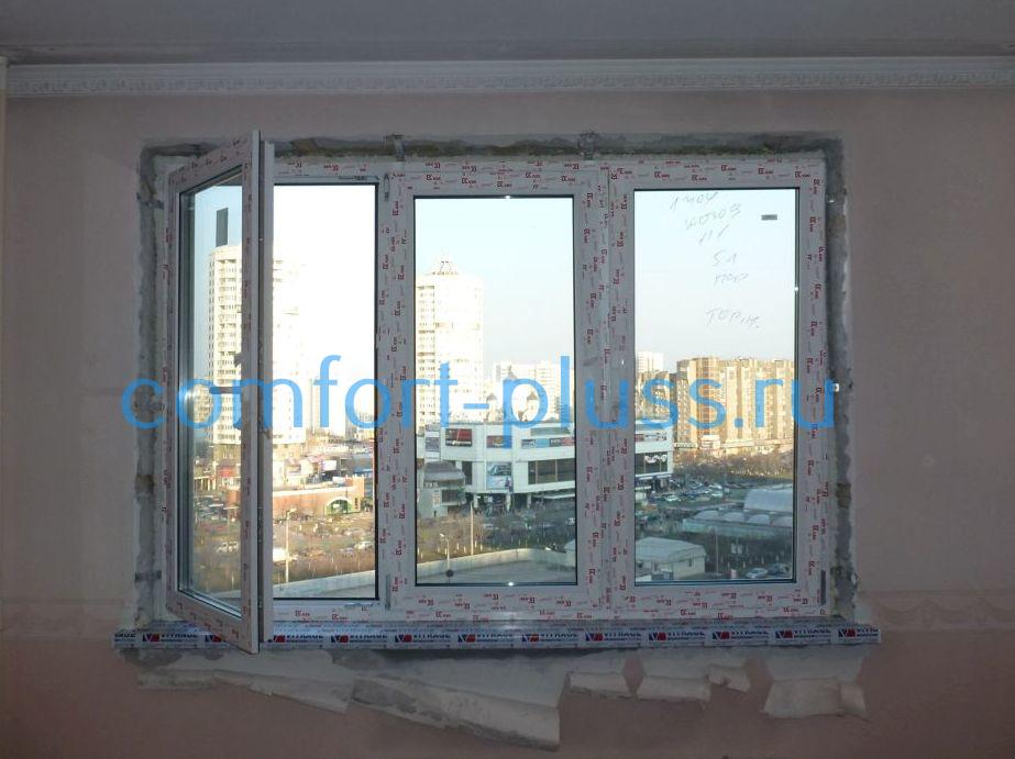 окно без отделки откоов