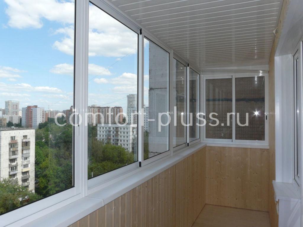Холодное остекление балкона из алюминия  типа PROVEDAL. Лёгкое.