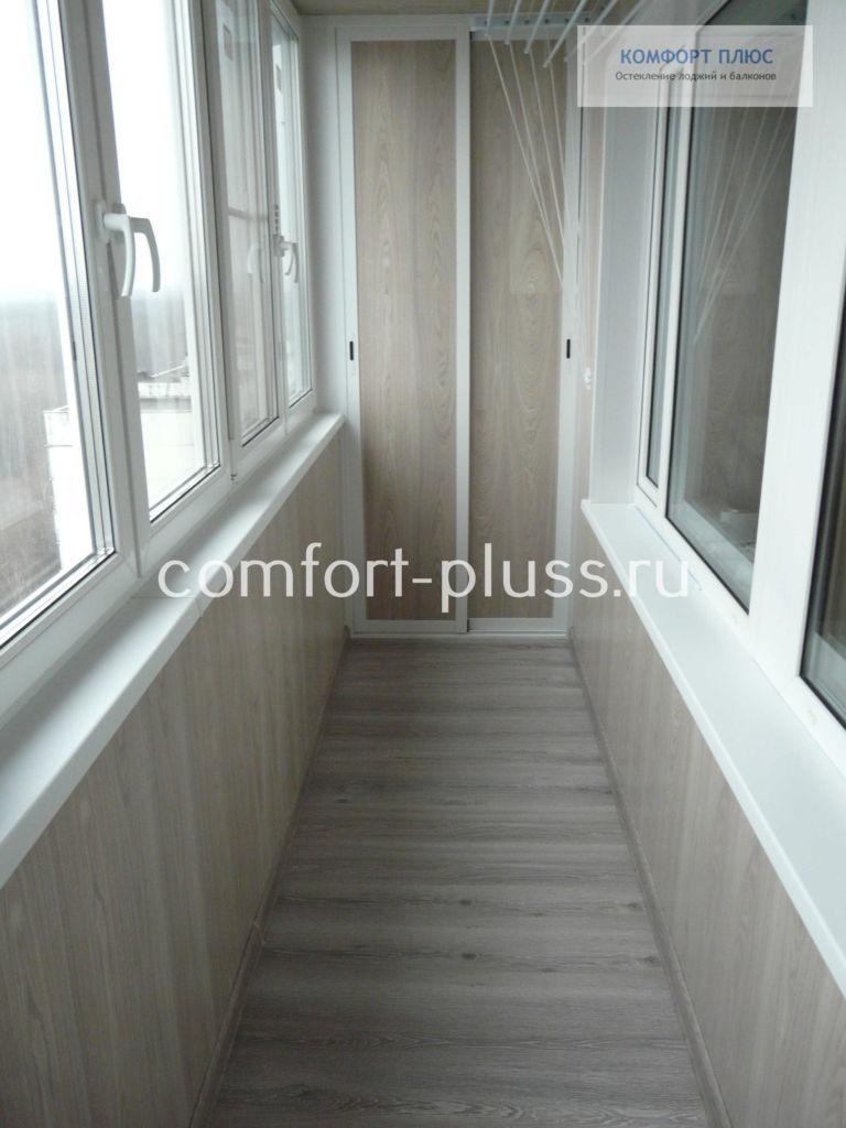 Отделка лоджии 6 метров ламинатом, пол, стены, шкаф.