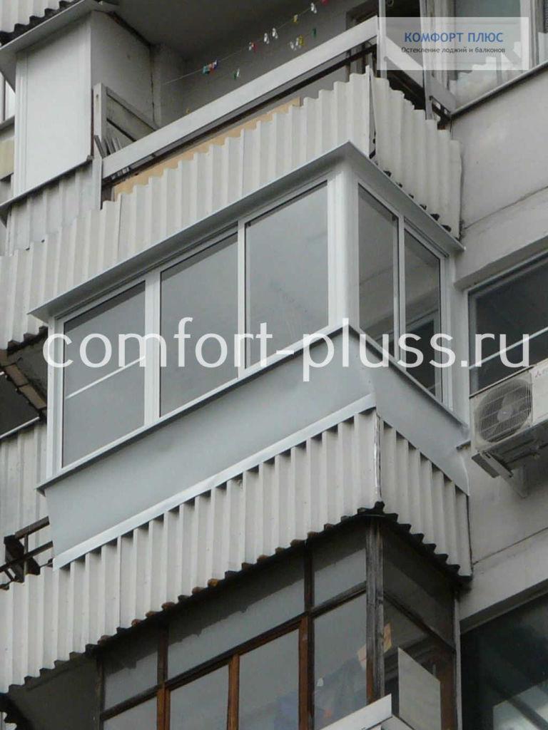 Остекление с выносом, балкон П-3 Г-образный