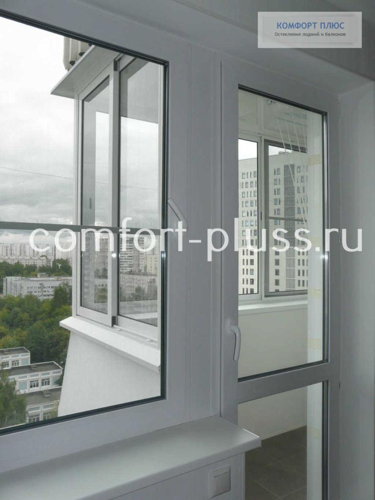 Балкон П-3 Г-образный, легкое остекление.