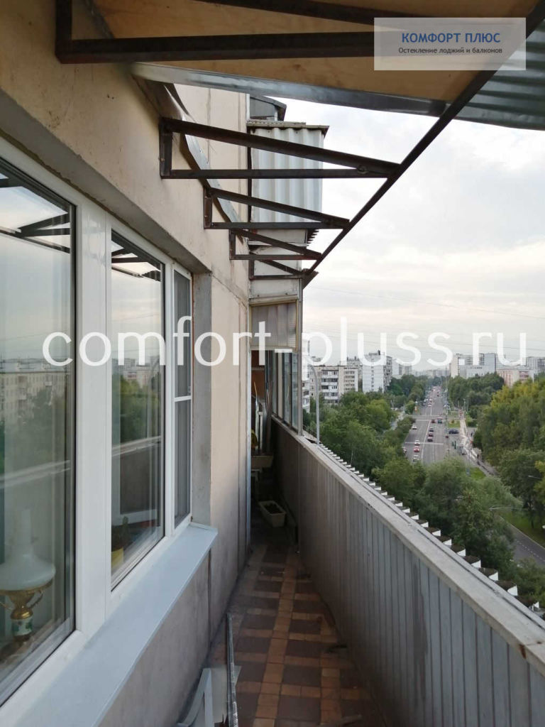 Крыша на балкон на стальном каркасе